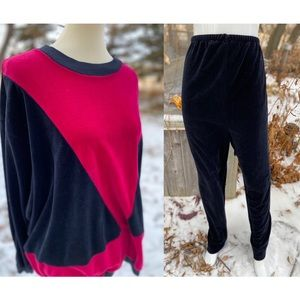 Vintage 80s Velvet Loungewear Track Suit 2 Piece